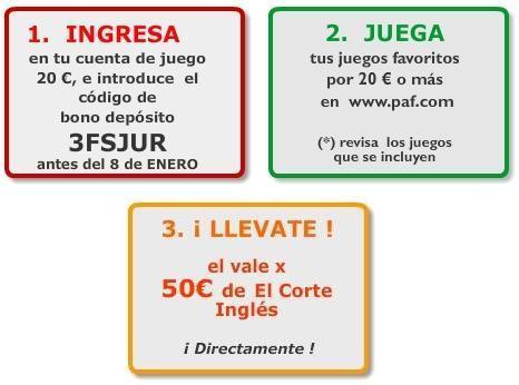 Apuestas PAF - Regalo de 50 € para el Corte Inglés
